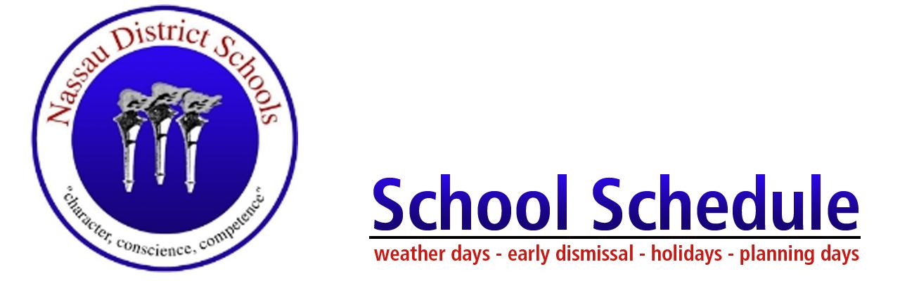 Nassau County School Schedule Header