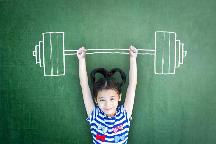 Girl holding up image of barbell