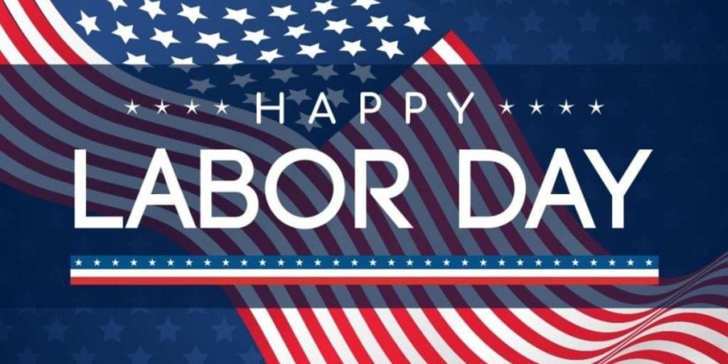 Image of American Flag wishing a Happy Labor Day