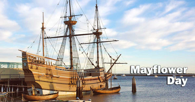 Replica of the Mayflower docked in Plymouth Harbor