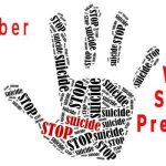 Hand print with stop suicide making up the print